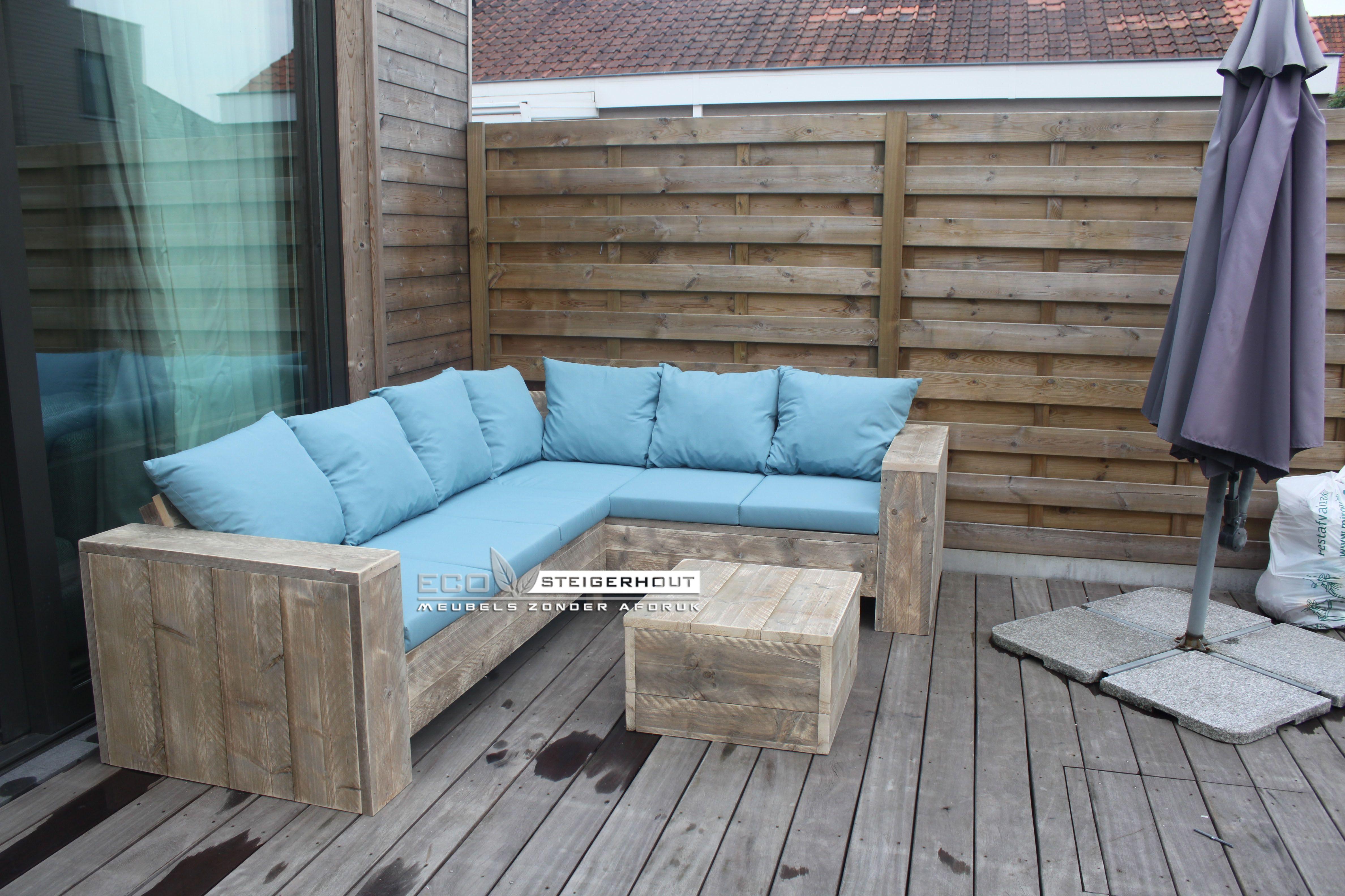 All Weather Kussens : Steigerhouten lounge hoekbank gemaakt van oud steigerhout behandeld