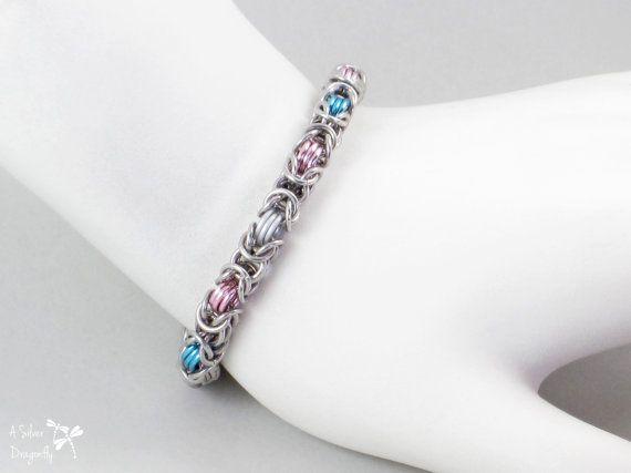 Transgender Pride Bracelet, Byzantine Aluminum Chainmaille Bracelet, Handmade Chainmail Pride Jewelry