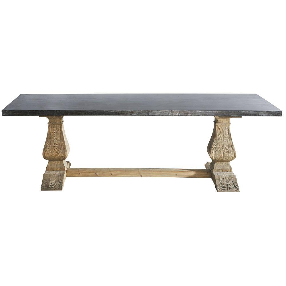 Table à Manger En Métal Et Pin Recyclé Personnes L Bois - Table pliante 240 cm pour idees de deco de cuisine