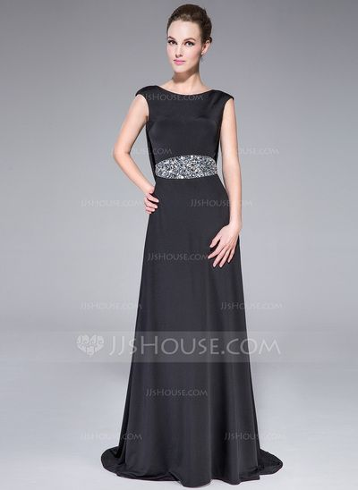 Evening Dresses - $129.99 - A-Line/Princess Scoop Neck Sweep Train Jersey Evening Dress With Beading (017041039) http://jjshouse.com/A-Line-Princess-Scoop-Neck-Sweep-Train-Jersey-Evening-Dress-With-Beading-017041039-g41039