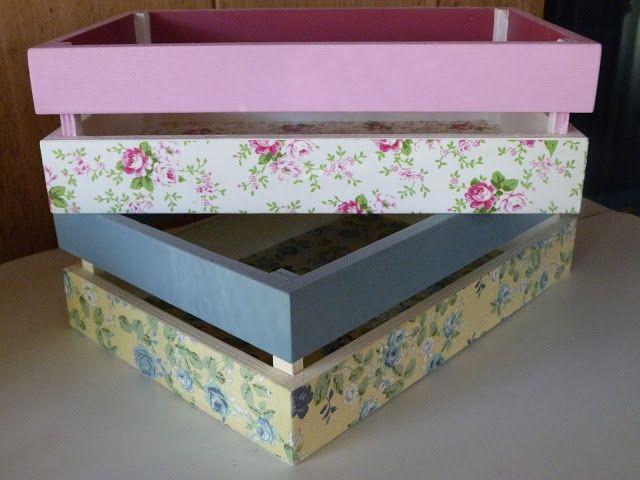 Isabelvintage vintage caja fruta madera decorada decoupage - Cajas madera manualidades ...