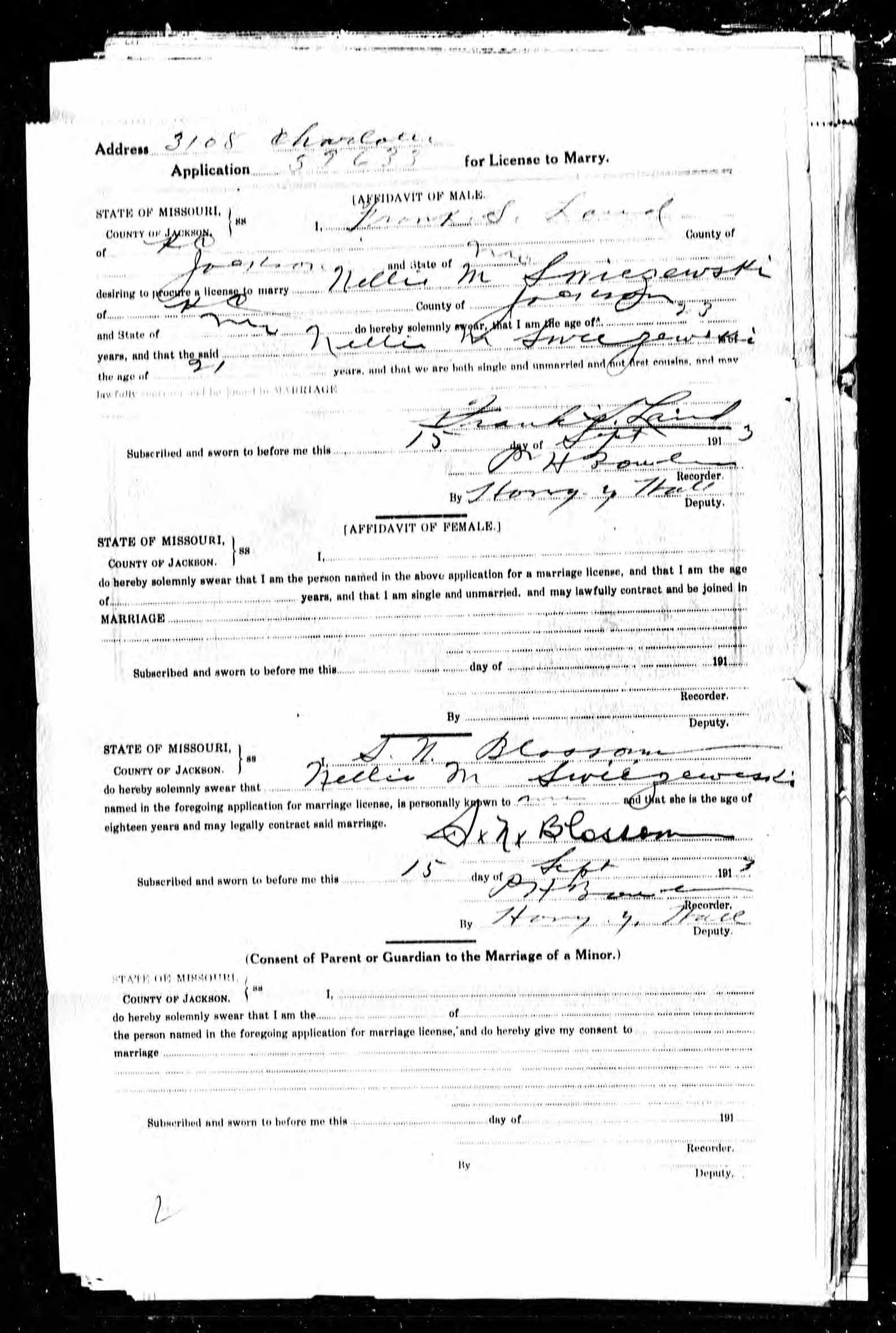 Certificado de Casamento do Tio Land com a Tia Nell Name: Frank S ...
