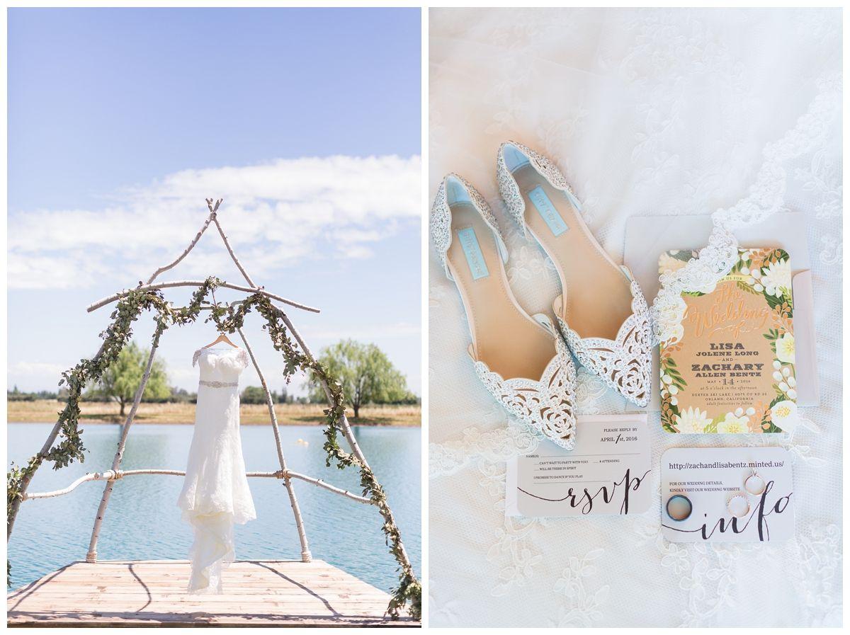 Wedding Dress Solo Photo Detils Photo | dress hanging next to wedding invitation suite