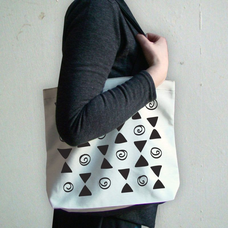 Ethnic pattern tote bag with a touch of humor, by Bobolink Studio