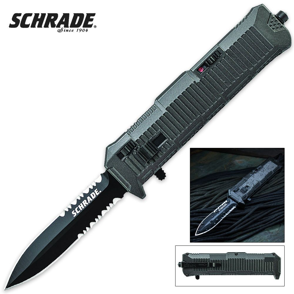 Schrade Viper OTF Assisted Opening Pocket Knife Serrated ...