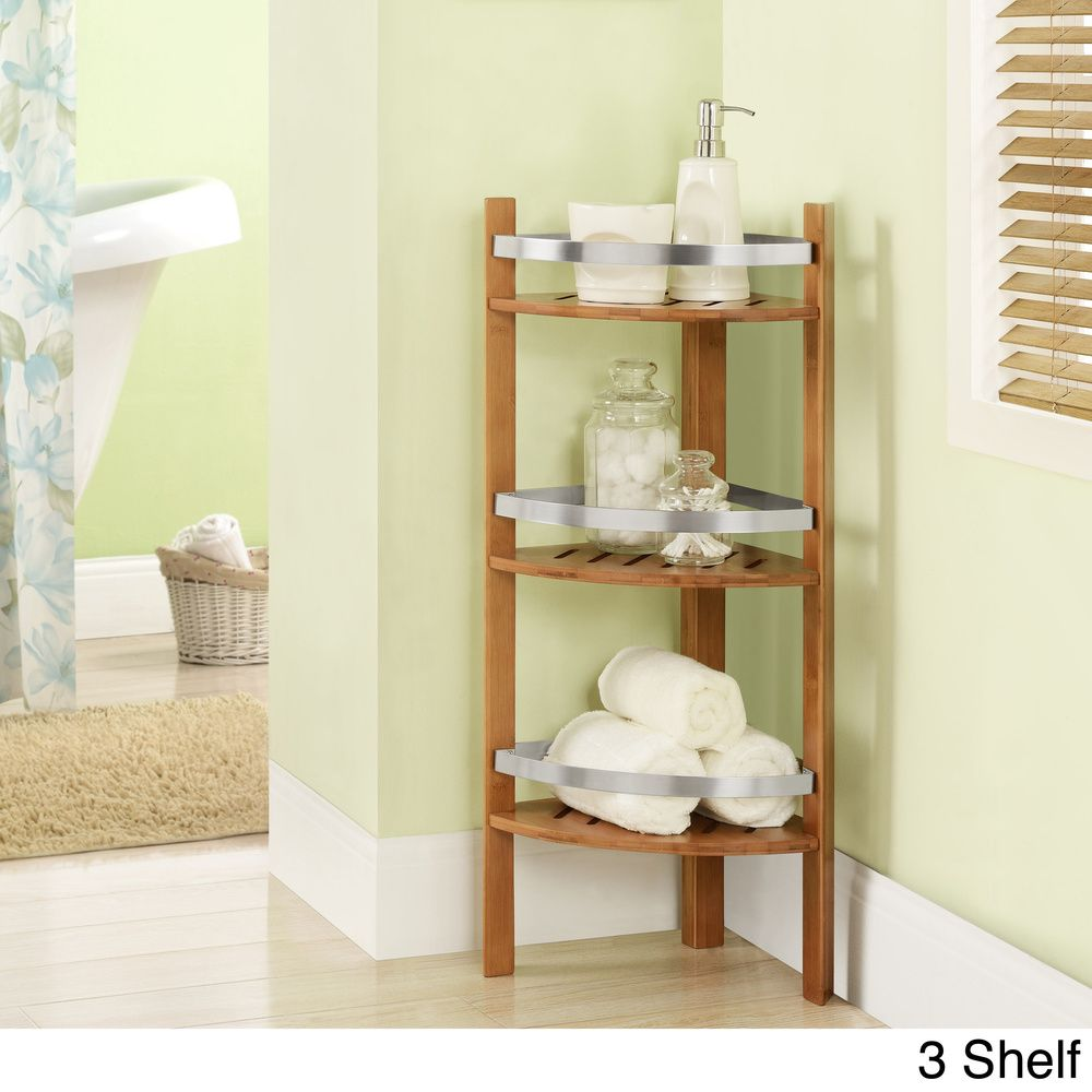 Attirant Bamboo Bathroom Shelves Corner Tower | Overstock.com Shopping   The Best  Deals On Decorative