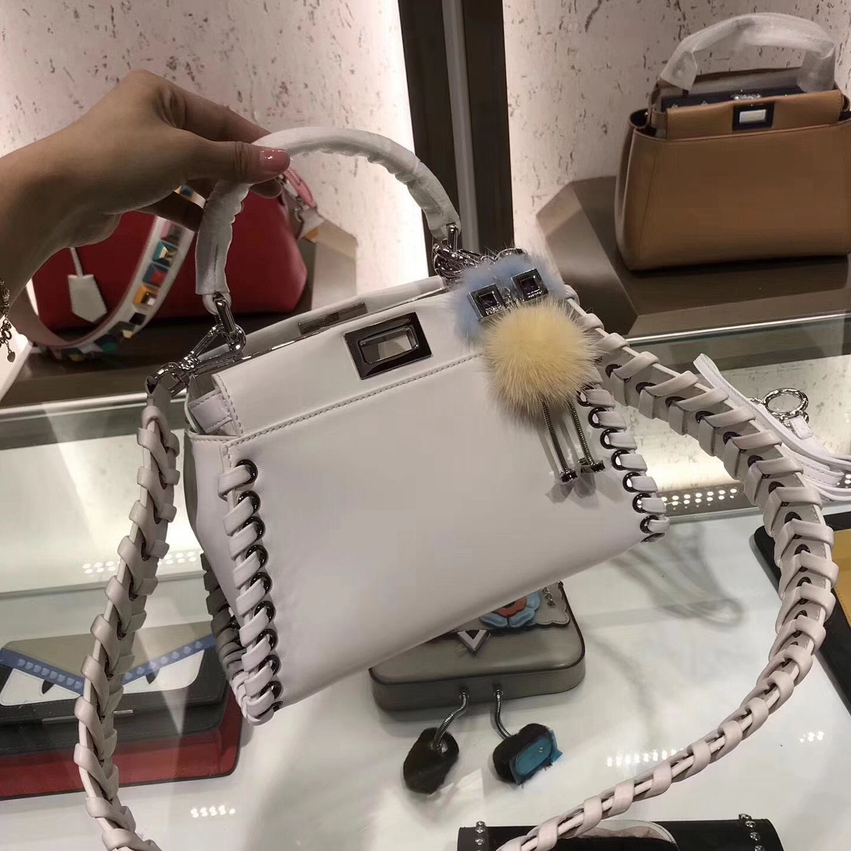 7b64b70062 Fendi Peekaboo Mini Bag in Nappa Leather with Weaving White | Fendi ...
