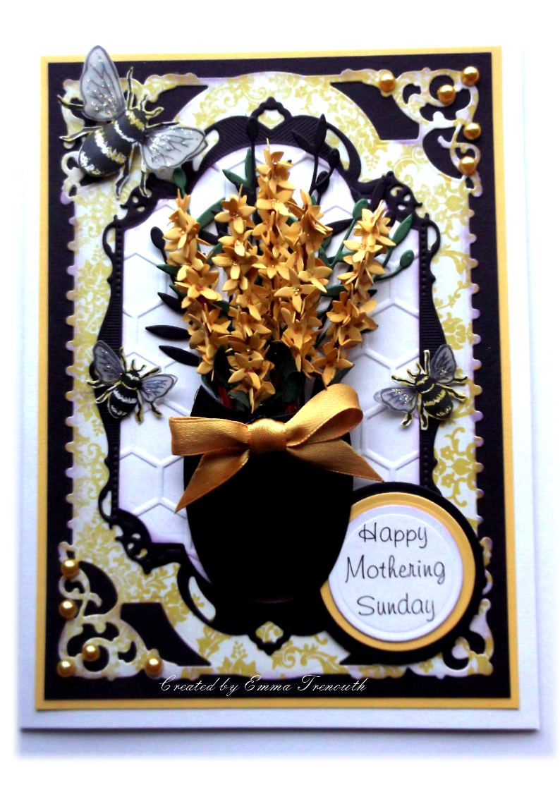 Floral Mothers day card. Forsythia sizzix die, spellbinders labels 28, MME papers.