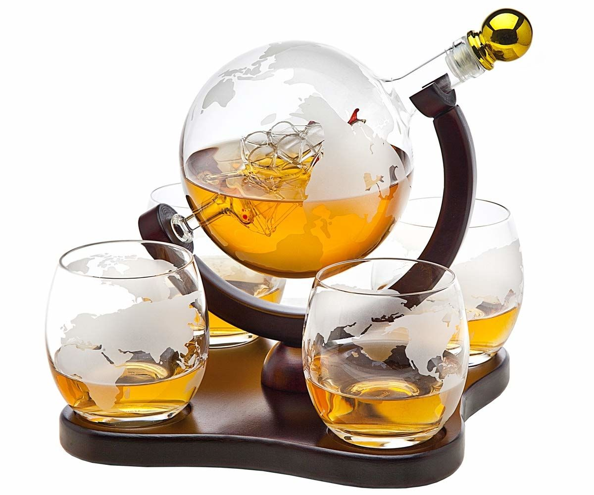 Crystal Globe Whiskey Decanter Sets 1 3 And 5 Piece Whiskey Decanter Set Whiskey Decanter Decanter Set