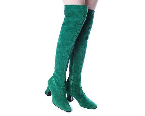 Emerald Green Suede Boots