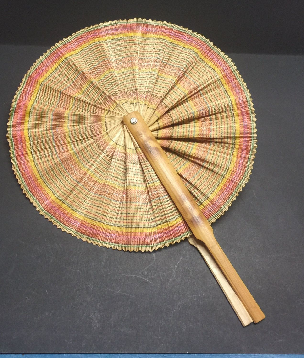 Hand made oriental fan Japanese fan wall hanging decor vintage fan ...