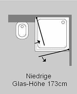 akiw eck dusche mit 2 tren klarglas chrom h173cm - Dusche Glastur Nach Mas 2