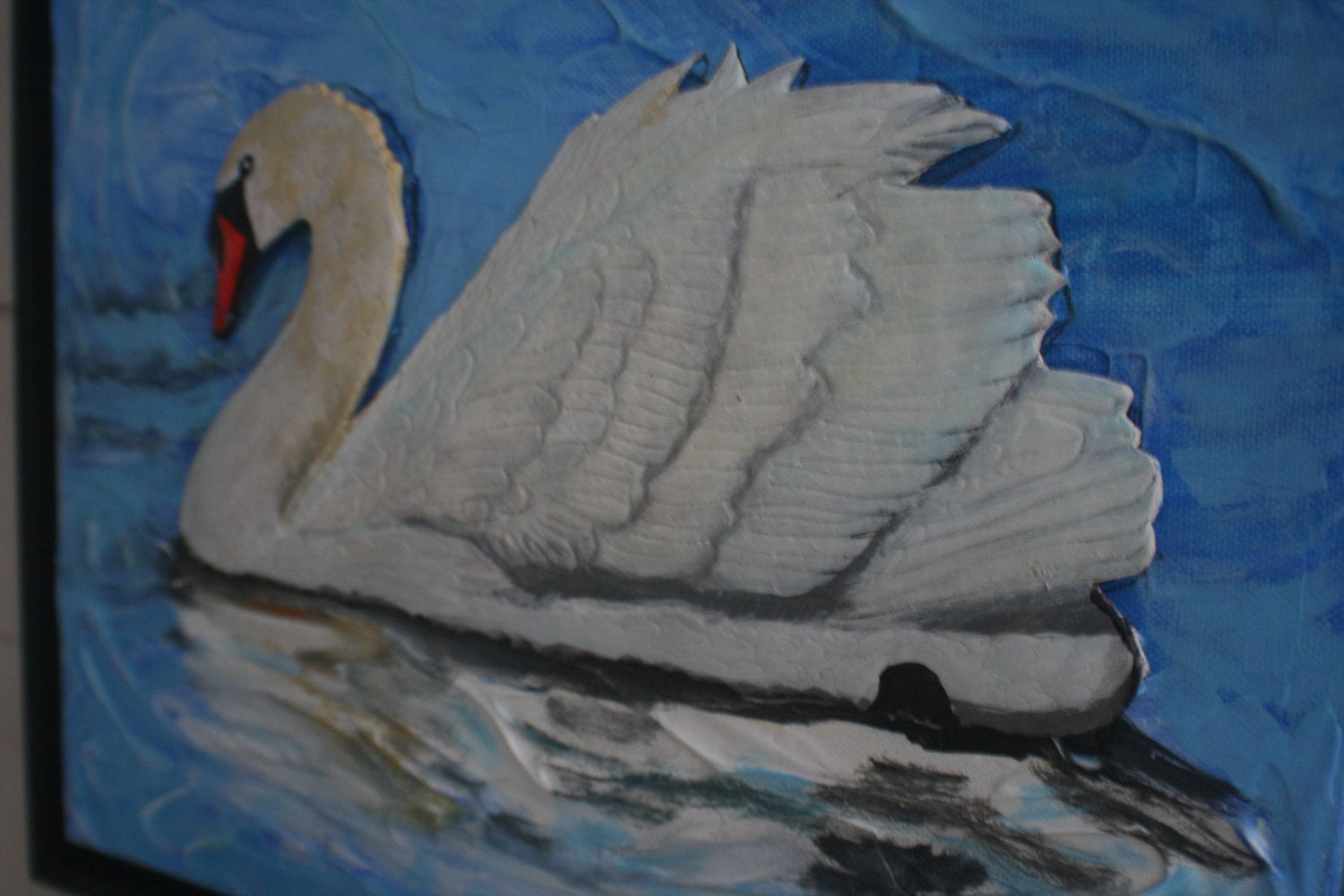 White swan leather sculpture mixed media collage art and