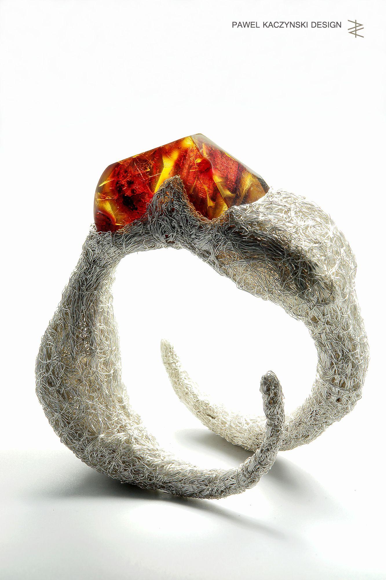 Pawel kaczynski design bracelet silver u amber pawel