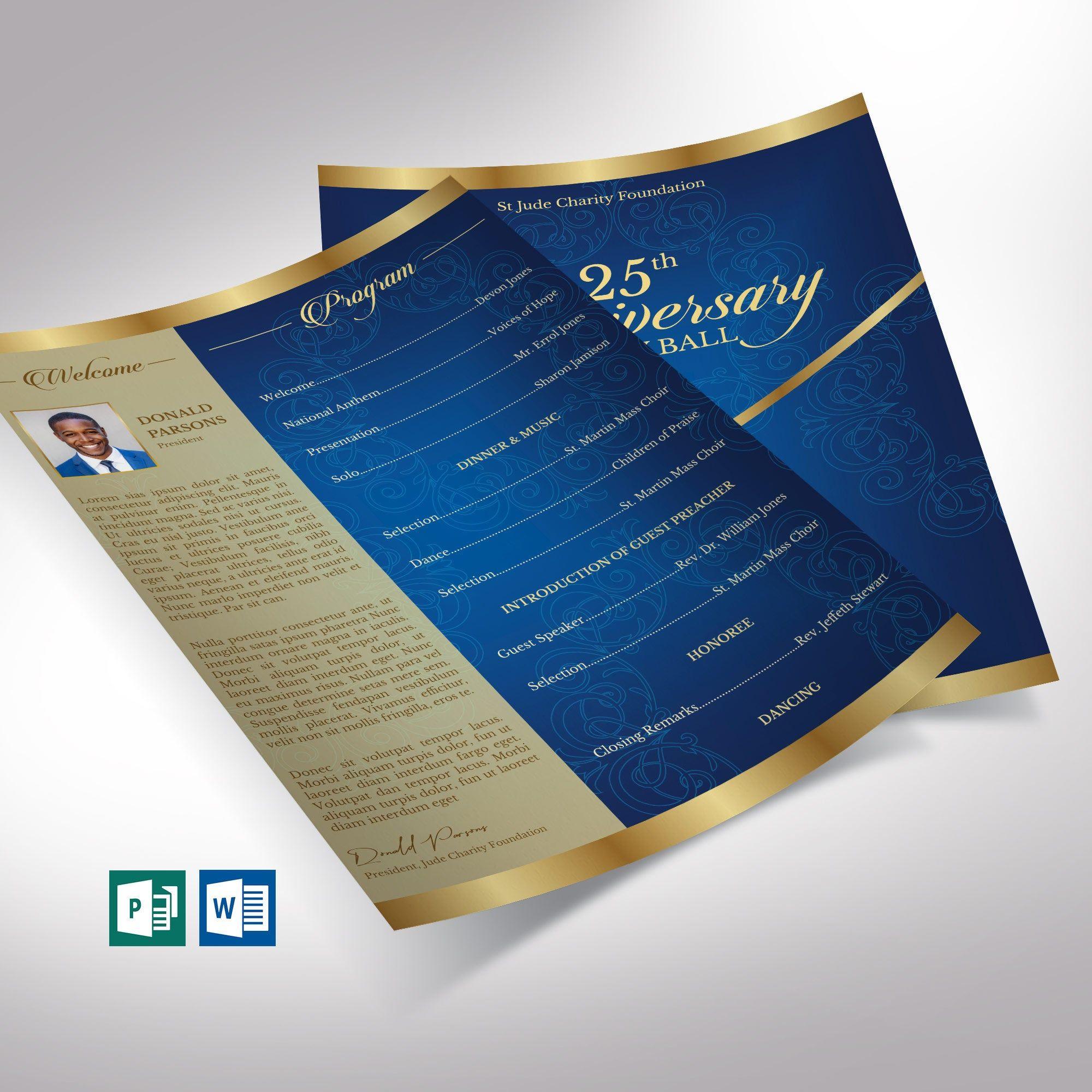 Blue Gold Anniversary Gala One Sheet Program Word Publisher