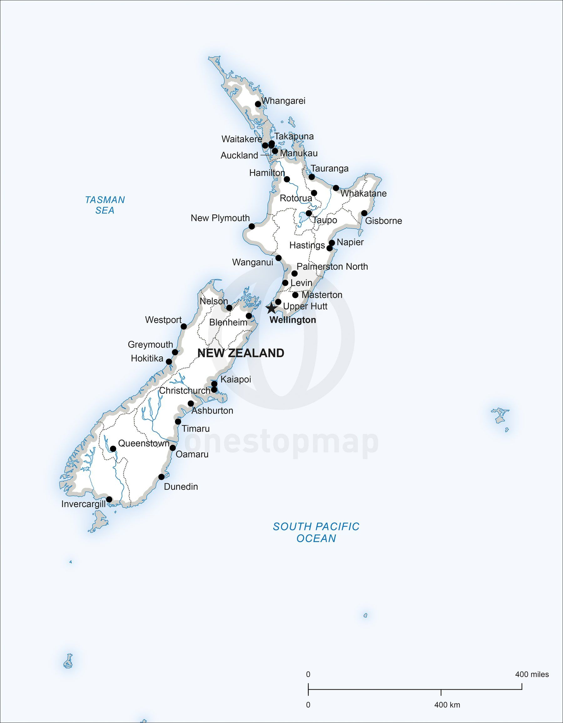Map of New Zealand political in 2019 | Maps of Australia - continent ...