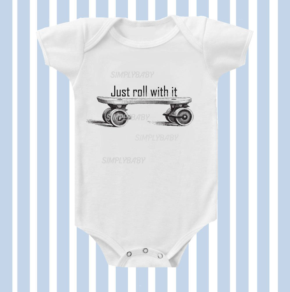 Just Roll with it Vintage Skateboard Baby Boy Onesie by SimplyBaby.  14.95 f0b2155a5a3