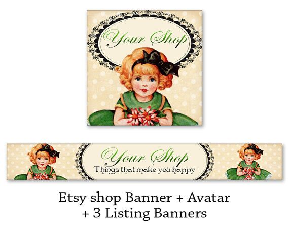 Vintage Etsy shop banner & avatar Digital files Etsy shop set Retro banner Printable download made by FrezeArt