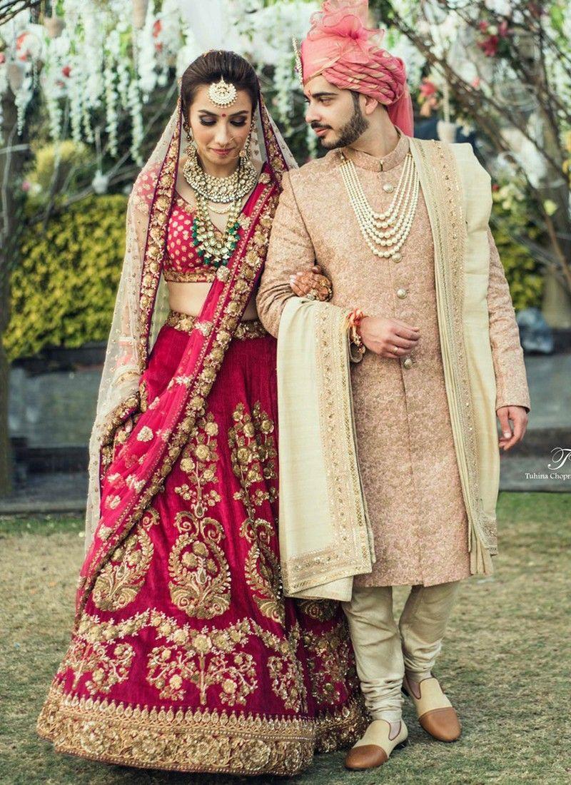 ee3d44ec29 Red Bridal Lehenga Choli with Floral Zardozi Embroidery | Fathima's ...