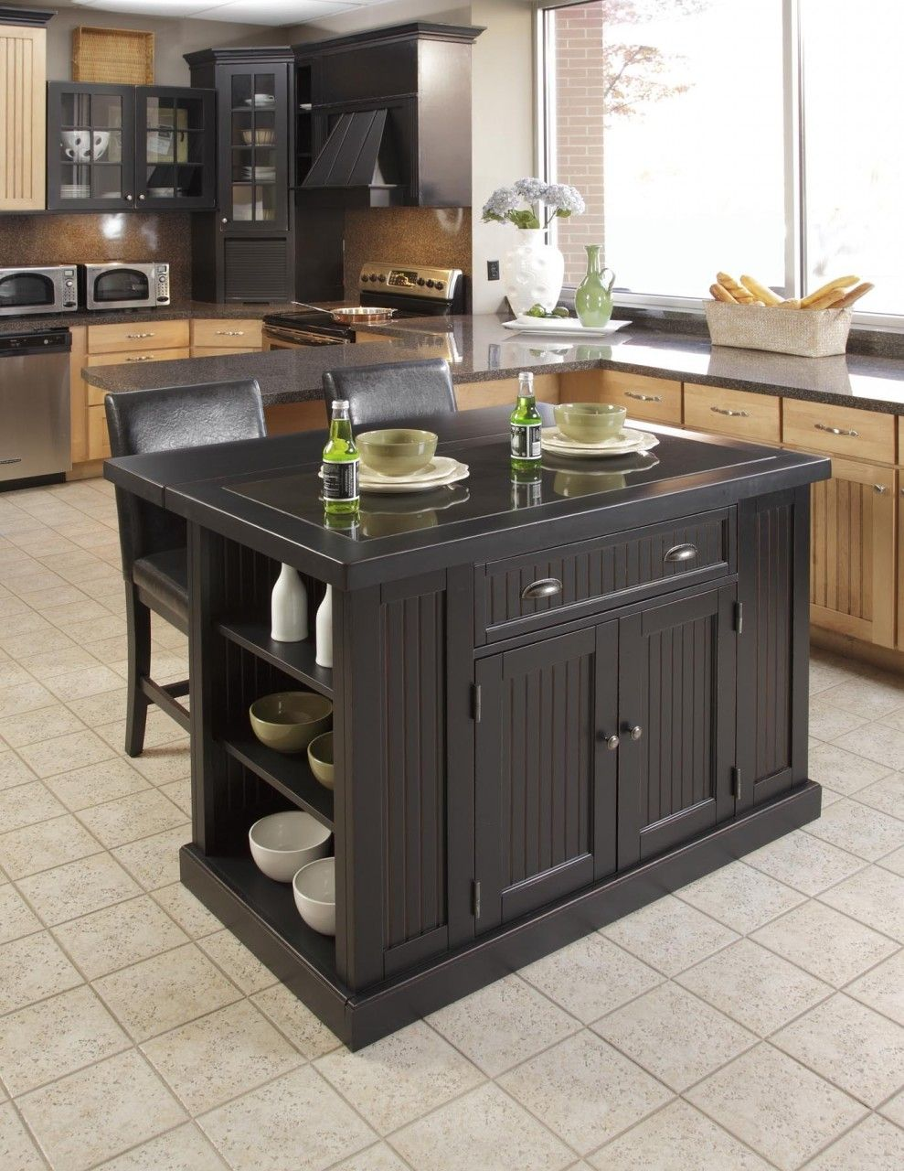 Kitchen islands designs  Nantucket Distressed Black Kitchen Island With Drop Leaf Breakfast
