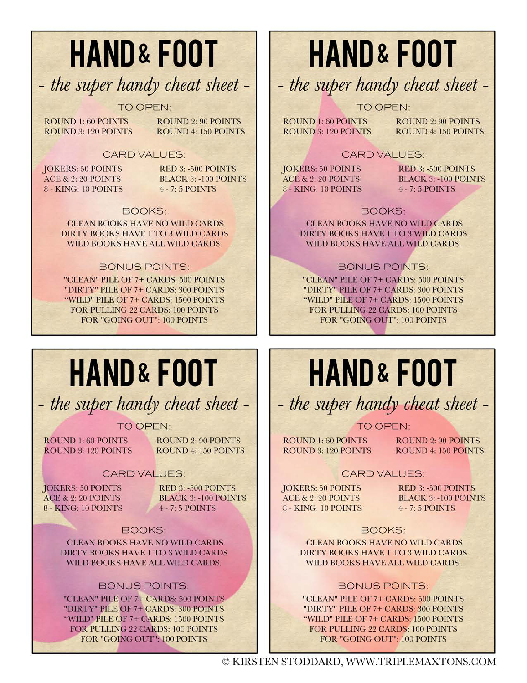 Hand Foot Card Cheat Sheet By Triple Max Tons  Great Ideas