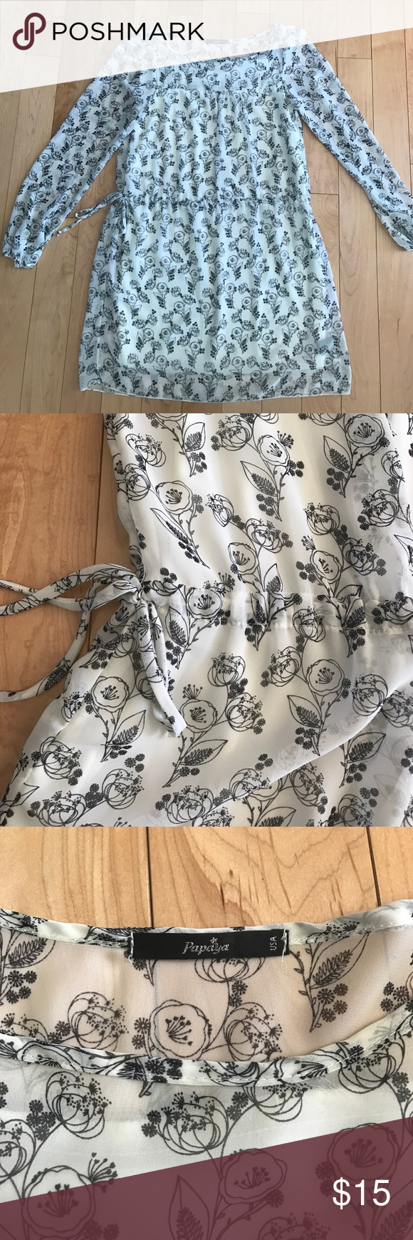 Papaya long sleeve white floral dress Long sleeve white floral dress with tie at waist. Sleeves are sheer. Perfect for springtime. Will fit small or medium. ***Any offers are warmly encouraged. 15% off a bundle of 3+ items. :) Papaya Dresses Mini