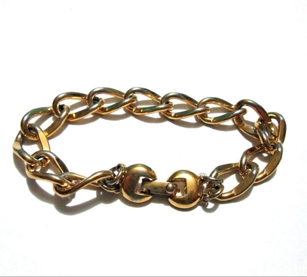 Details about vintage monet bracelet chunky link gold chain costume