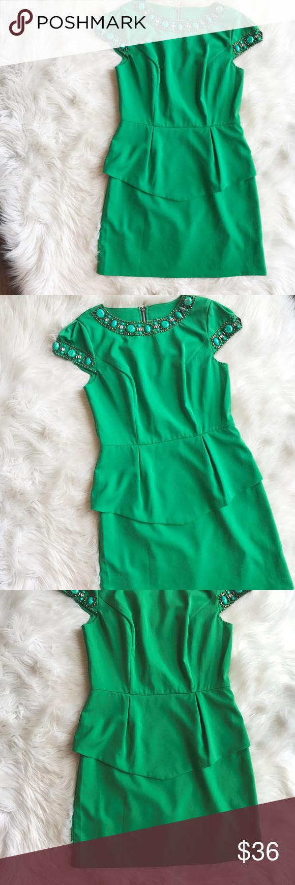 Green dress one shoulder  Kensie Beaded Career Peplum Dress Excellent condition peplum style