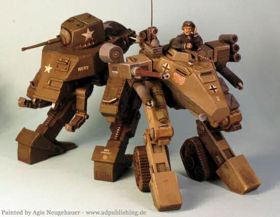 Dieselpunk: General Early and Valkyrie combat walkers