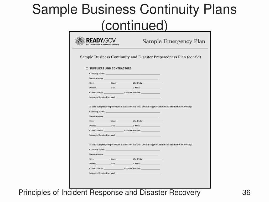Business Continuity Plan Sample Awesome Ppt Principles Of