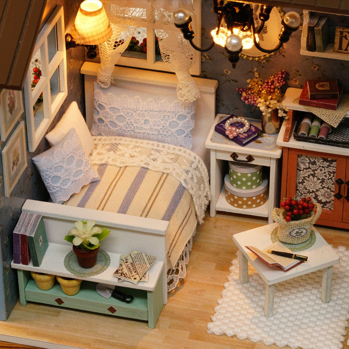 Cuteroom wooden kids doll house with furniture staircase led lights
