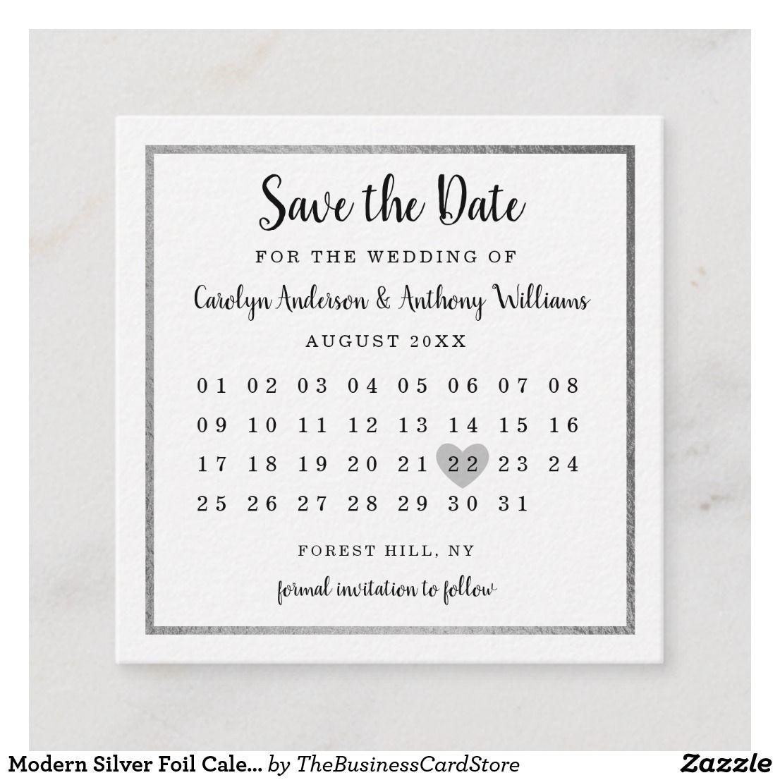 Modern Silver Foil Calendar Save The Date Enclosure Card