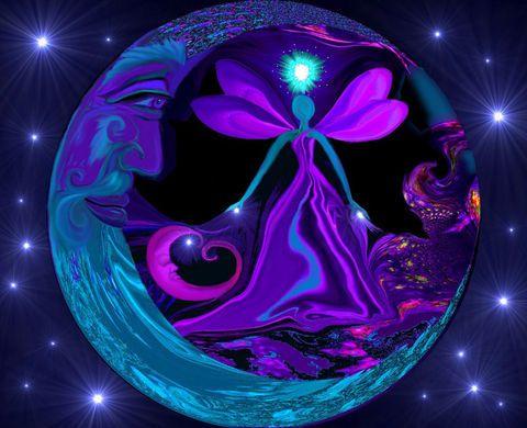 Purple Decor Abstract Angel Energy Art Moon Stars Orb Reiki Wall Art