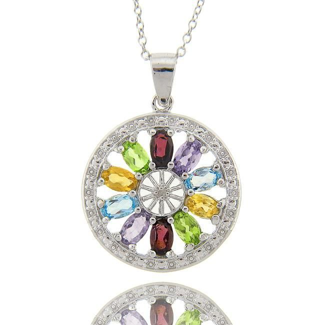 Dolce Giavonna Sterling Silver Multigemstone/ Diamond Accent Medallion Necklace, Women's