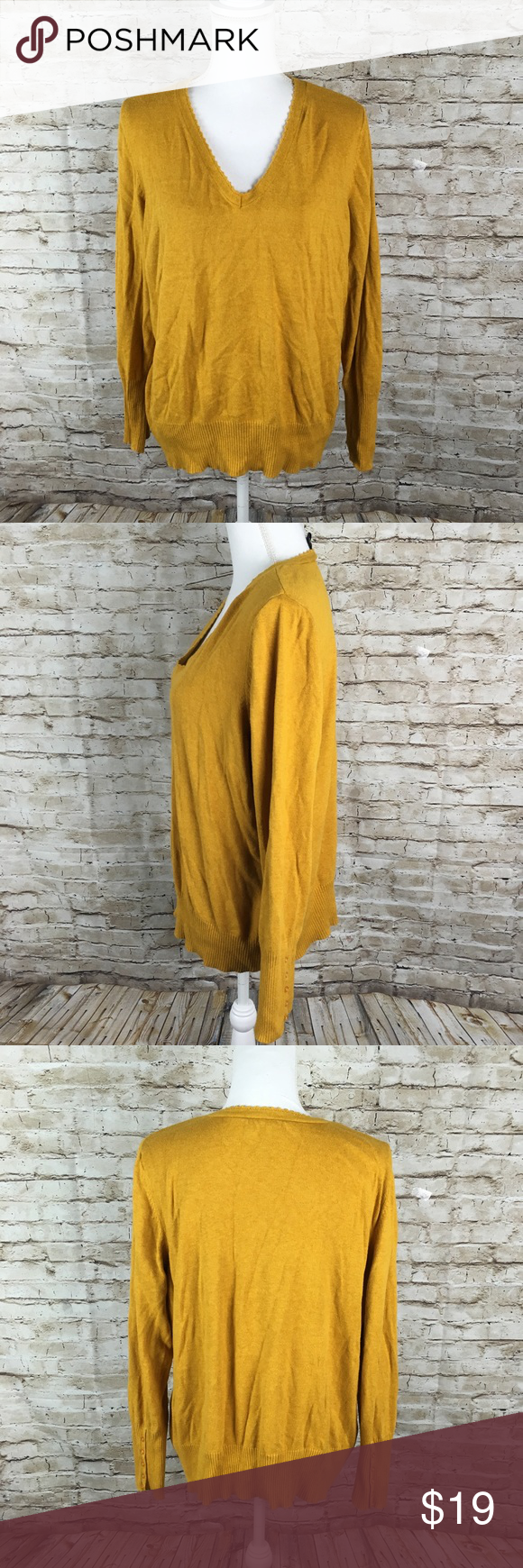 Lane Bryant mustard yellow pullover sweater 18/20 | Mustard and ...
