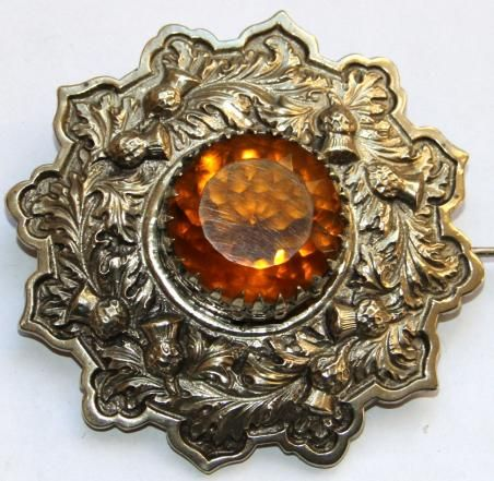 """3rd VOLUNTEER BTN. SEAFORTH HLDRS PIPERS PLAID BROOCH.  Very rare early pipers brooch. Thistle motif to quoit. Raised centre with beautiful metalwork holding a super foiled citrine. Over long stout pin as found on early brooches. Stamped to rear """" 3 V.B.S.H."""""""