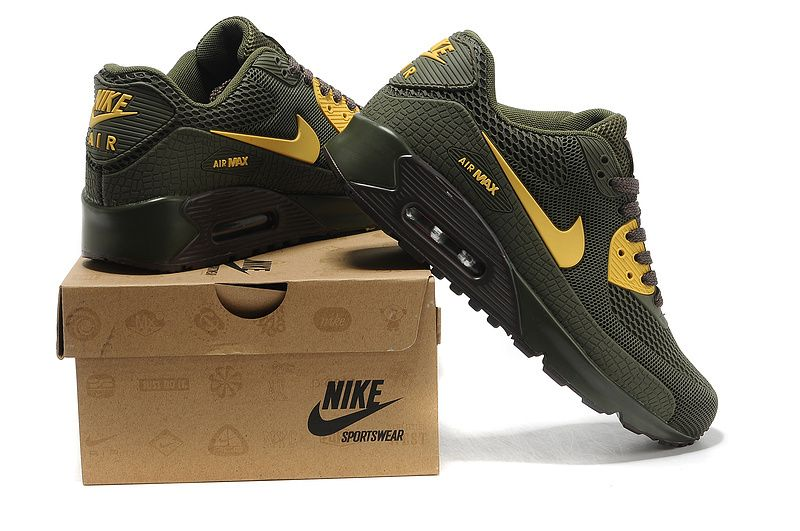 Nike Air Max 90 Mens Army Green Yellow 2013 New Shoes