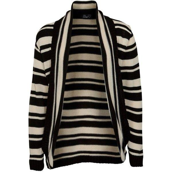 Te Amo Monochrome Stripe Open Front Cardigan ($36) ❤ liked on Polyvore