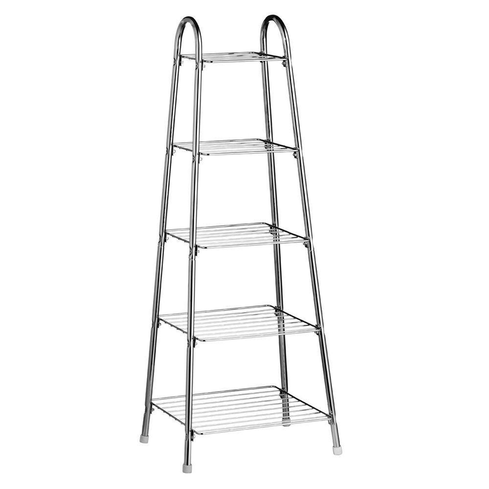 Saucepan Rack 5 Tier Chrome Metal Storage Unit Frying Pan Stand Organizer  Holder