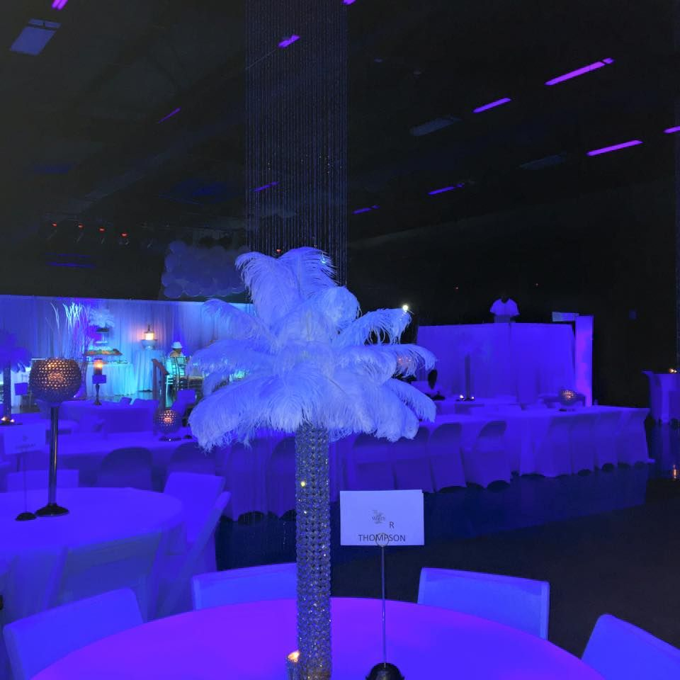 Elegant Party Decorations All White Party White Party Decorations Blue Uplighting Elegant