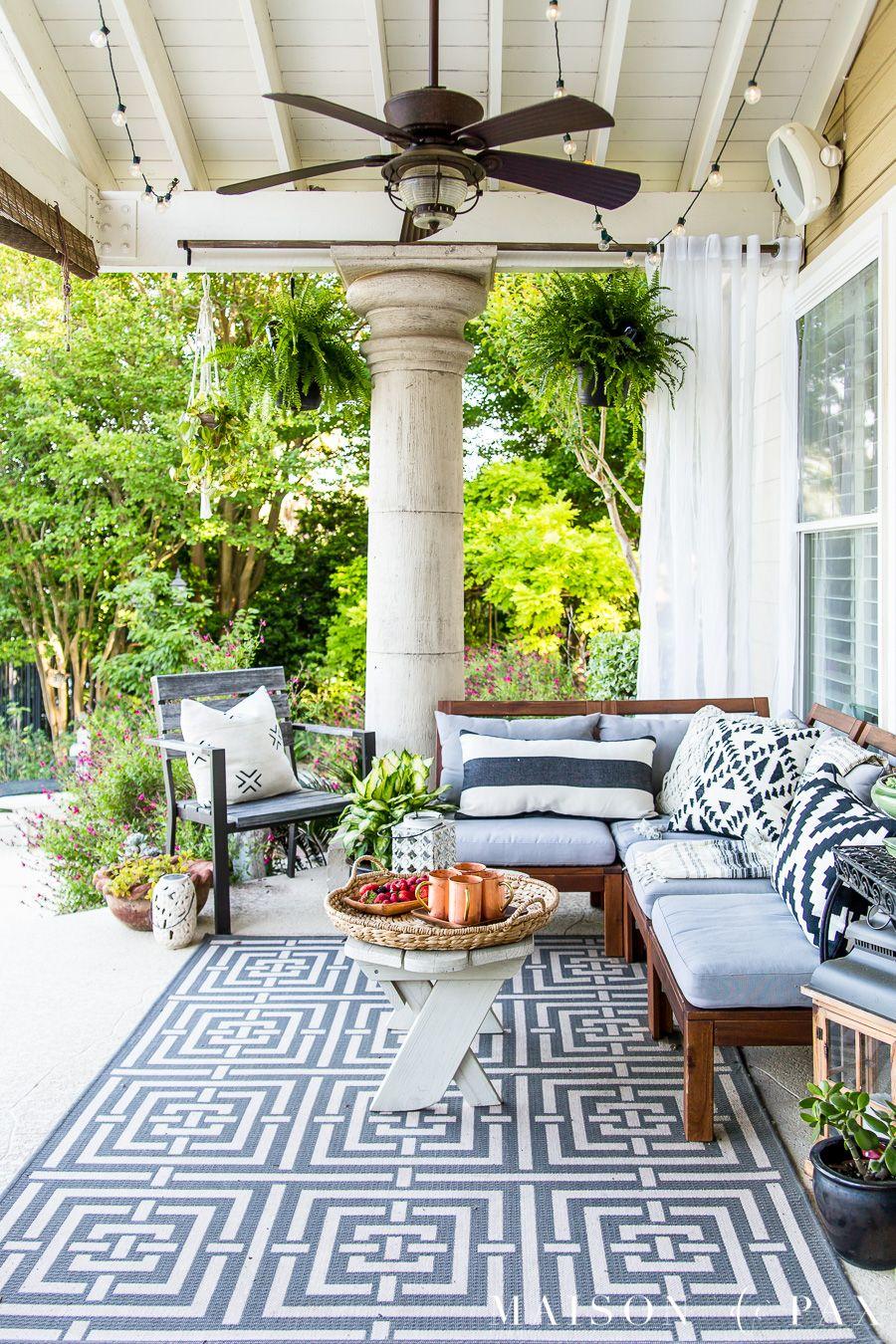 Summer Porch Decor Ideas Ferns And Succulents Maison De Pax Summer Outdoor Decor Summer Porch Decor Summer Patio