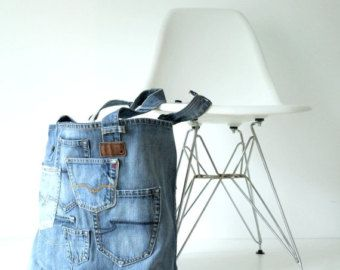 denim canvas tote bag with lots of pockets  jeans bag  by Lowieke
