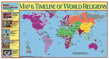 Map and Timeline of World Religions Poster | Mythology & World