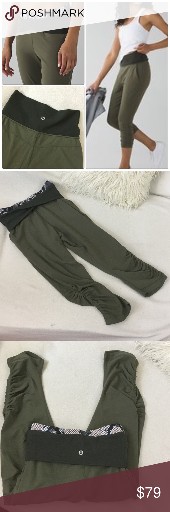 Lululemon olive green cropped workout pants Lululemon olive green cropped workout pants with foldover waist design if desired.  Comfy fit with a relaxed upper and cinched hems. Excellent condition hardly worn. lululemon athletica Pants Ankle & Cropped