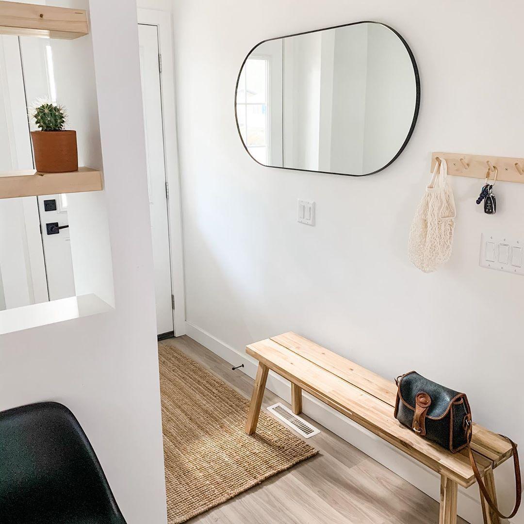 "@ourlittlemodernhome on Instagram: ""Can finally 👀 before I leave the house! . . . . . . #danishdesign #scandinaviandesign #ikea #frontentrance #bench #mirror #apartmenttherapy…"""