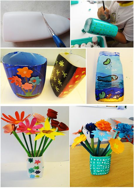 Art With Children Flower Vase Out Of A Plastic Bottle Plastic