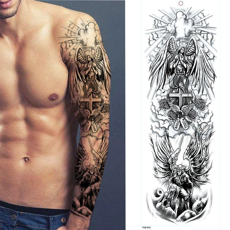 1 Sheets Full Arm Leg Extra Large Temporary Tattoos Body Art For Men And Women Wolf Tiger Bear Warrior Tribal Symbol In 2020 Large Temporary Tattoos Men Tattoos Arm Sleeve Full Arm Tattoos