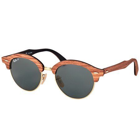 c458d5e23e3ed Ray-Ban Clubround Wood Brown Sunglasses, RB4246M-118158-51, Women s ...