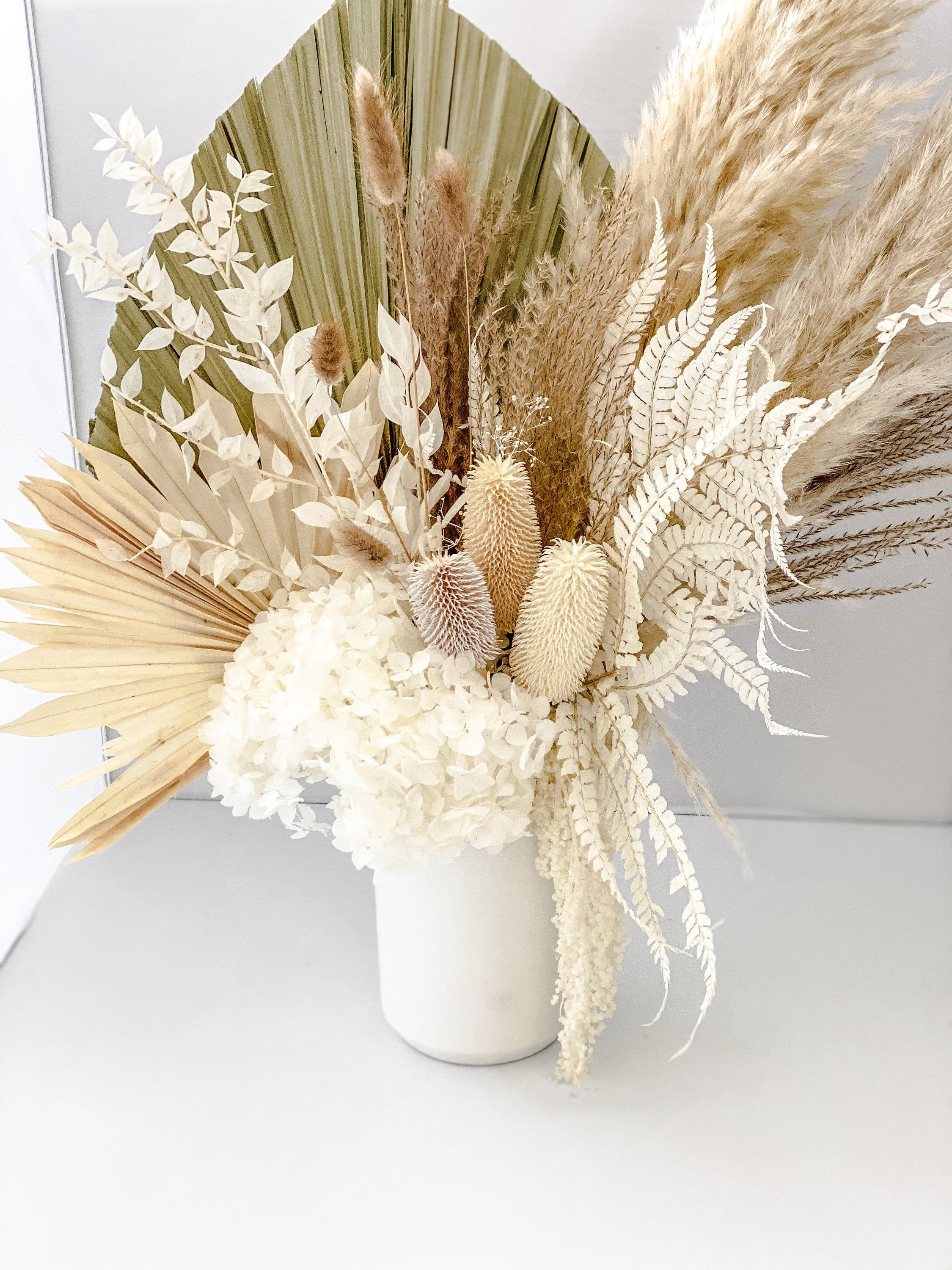 Large pampas grass and hydrangea vase arrangement   Hydrangea vase, Vase  arrangements, Dried floral