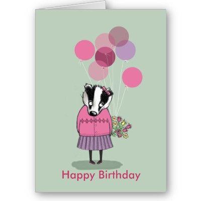 Cute Little Girl Badger Birthday Card Cute Little Girls Pink Wedding Sign Birthday Cards